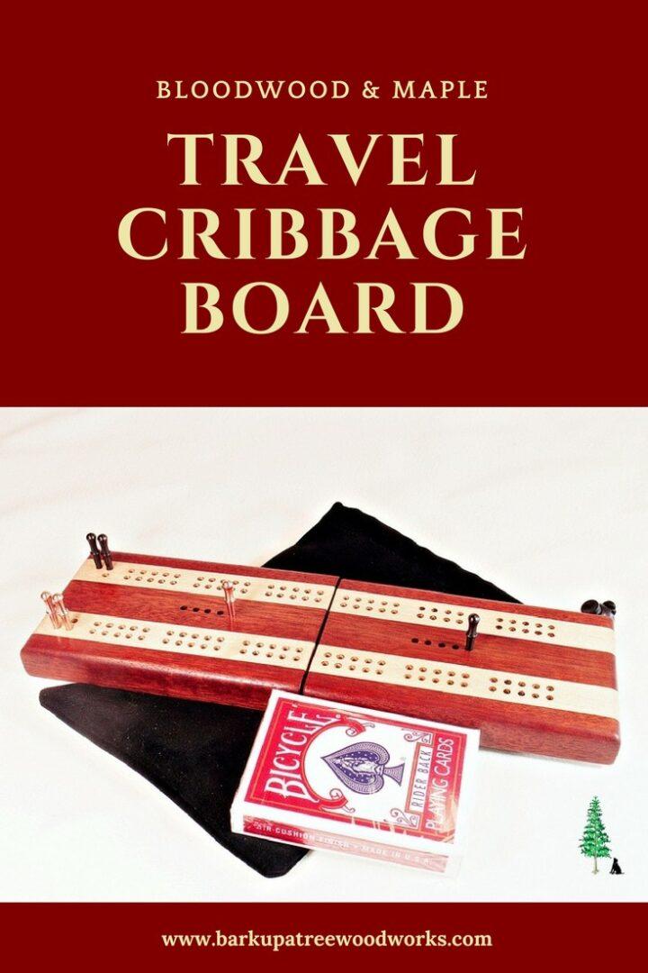 Bubinga and Maple Travel Cribbage Board Pin Type 2