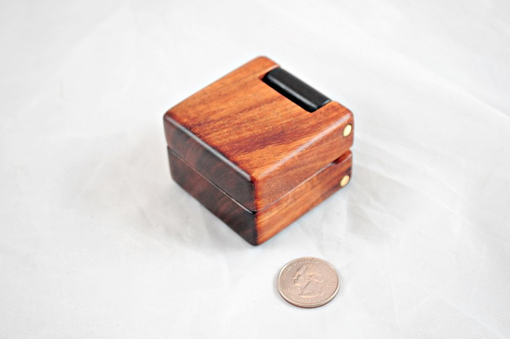 Double Wood Hinge Ring Boxes