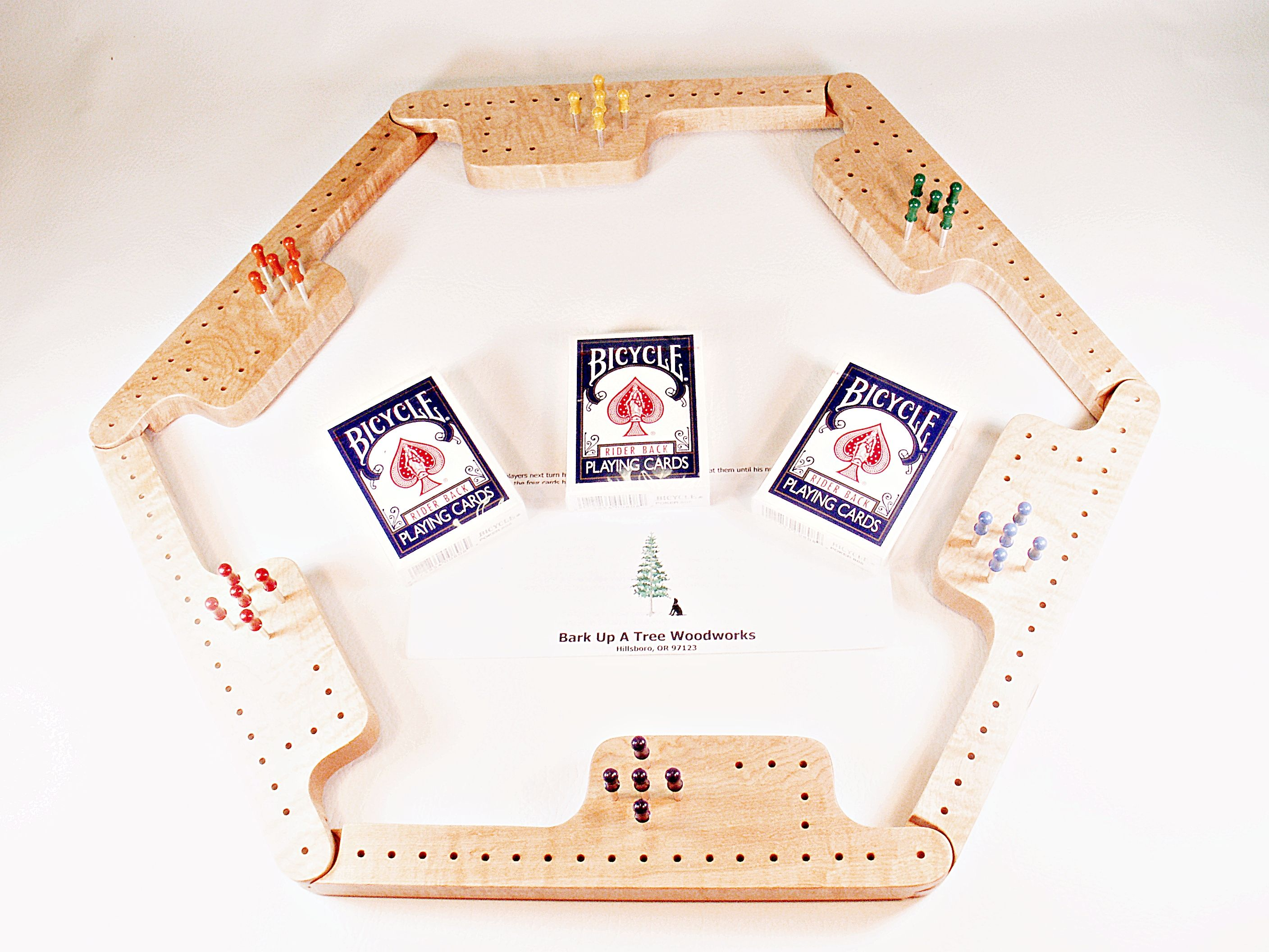 Pegs & Jokers Game Set - Curly Maple
