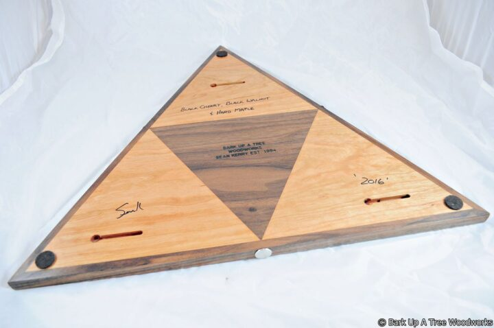Triangle Cribbage Race Board - Cherry, Walnut & Maple - Back