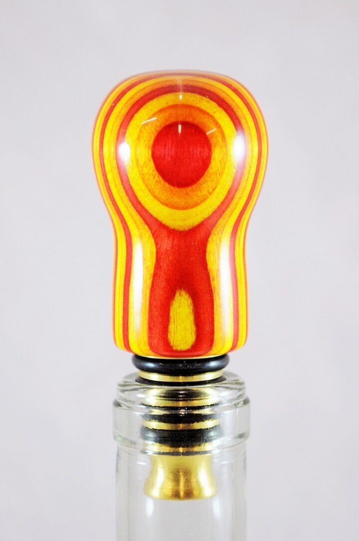 Bottle Stopper - SpectraPly Tequila Sunrise with Brass Bottle