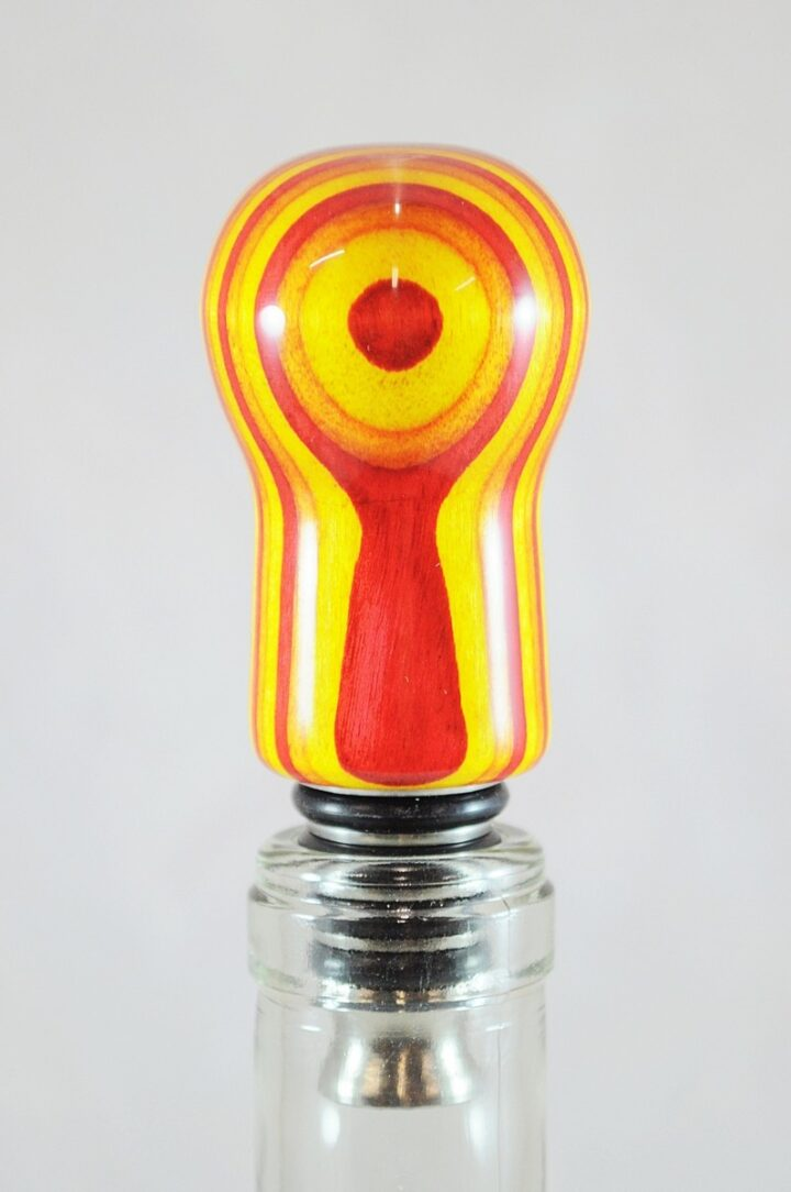 Bottle Stopper - SpectraPly Tequila Sunrise with Stainless Steel Bottle