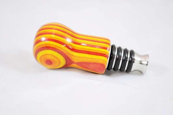 Bottle Stopper - SpectraPly Tequila Sunrise with Stainless Steel Side