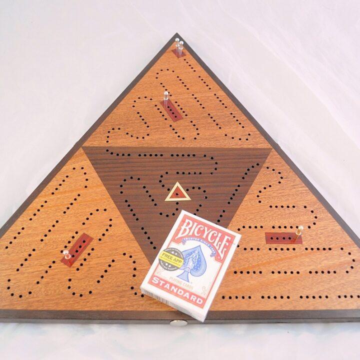 Triangle Cribbage Khaya and Peruvian Walnut