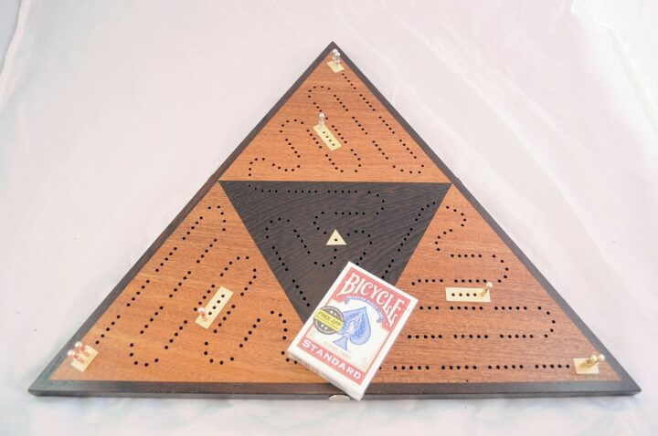 Triangle 3 Player Cribbage Race Board - Khaya & Wenge with Holly Inlays Over