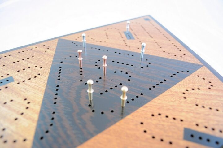 Triangle 3 Player Cribbage Race Board - Khaya & Wenge with Ebony Inlays Over