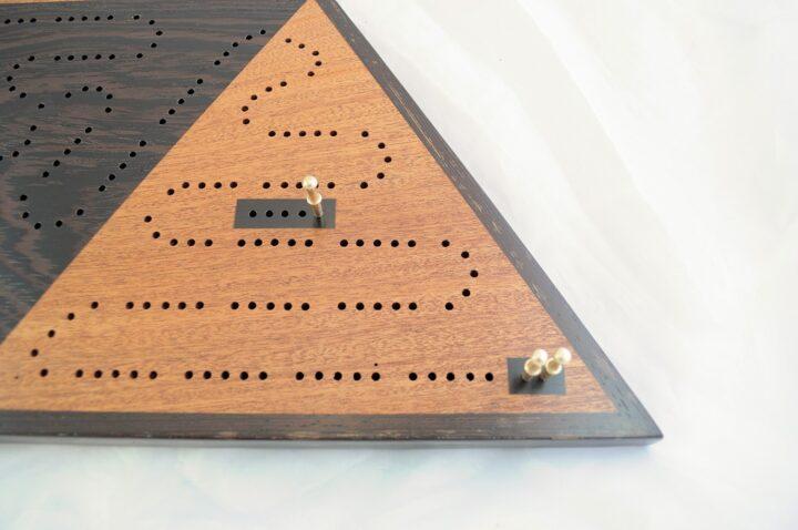 Triangle 3 Player Cribbage Race Board - Khaya & Wenge with Ebony Inlays Corner