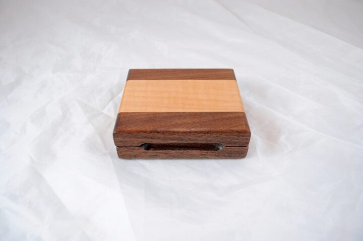 Playing Card Case #64 - Black Walnut & Curly Maple Closed