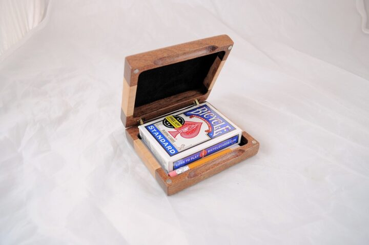 Playing Card Case #71 - Mesquite & Curly Maple Open